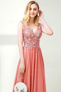 A-Line/Princess V-neck Chiffon Prom Dress With Appliques
