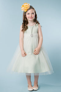 A-Line/Princess Scoop Neck Tulle Flower Girl Dress with Bow(s)
