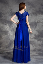 Scoop Neck Chiffon Long Bridesmai Dress with Short Sleeves