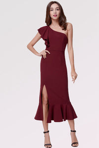 Sheath/Column One-Shoulder Elegant Wedding Guest Dress with Split Front