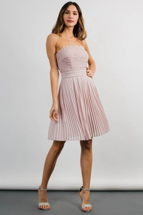 Strapless Short Lace Simple Homecoming Dress with Ruffle