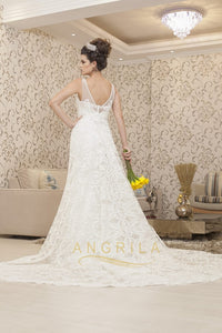 Trumpet/Mermaid Chapel Train V-neck Lace Wedding Dress with Sleeveless