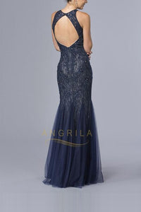 Trumpet/Mermaid Scoop Neck Lace Mermaid Prom Dress with Beading