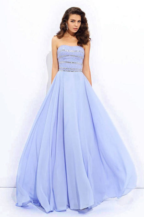 A-Line/Princess Strapless Chiffon Long Prom Dress with Beading