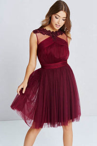 A-Line/Princess Scoop Neck Tulle Short Prom Dress with Ruffle