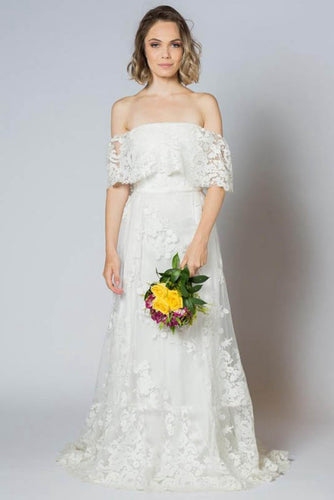 Sheath/Column Sweep Train Off-the-Shoulder Lace Wedding Dress
