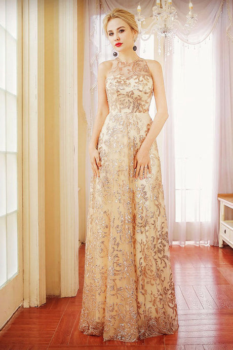 Sequined Sheath/Column Scoop Neck Long Prom Dress with Sequins
