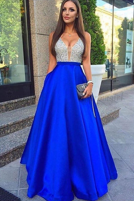 Beading Backless Prom Evening Dresses