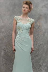 Sheath/Column Bateau Lace Appliques Pleated Floor-length Chiffon Bridesmaid Dresses