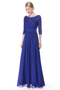 A-line/Princess 3/4 Sleeves V-back Lace Chiffon Long Bridesmaid Dresses
