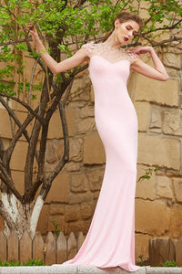 Trumpet/Mermaid Sweep Train Long Evening Dress with Beading
