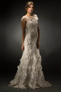Trumpet/Mermaid Scoop Neck Wedding Dress with Appliques Lace