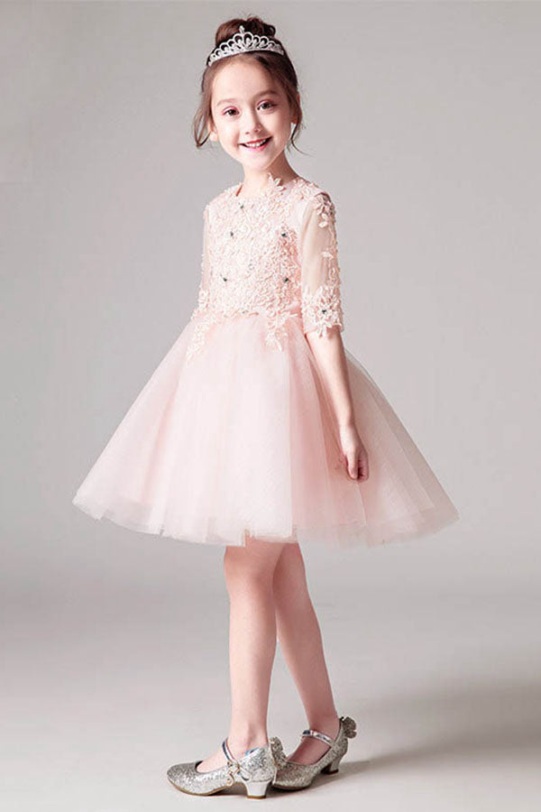 Ball-Gown Scoop Neck  Tulle Flower Girl Dress with Flower(s)