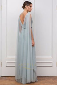 Sheath/Column V-neck Tulle Long Evening Dress with Sash Ruffle