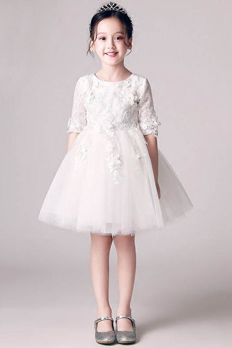 Scoop Neck Ball-Gown Lace Flower Girl Dress with 1/2 Sleeves