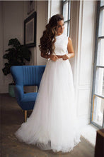 A-Line/Princess Jewel Neck Lace Wedding Dress with Two Piece
