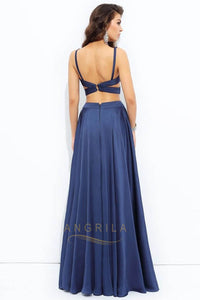 A-Line/Princess V-neck Long Evening Dress with Two Piece