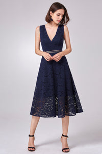 A-Line/Princess V-neck Tea Length Mother of the Bride Dress with Lace