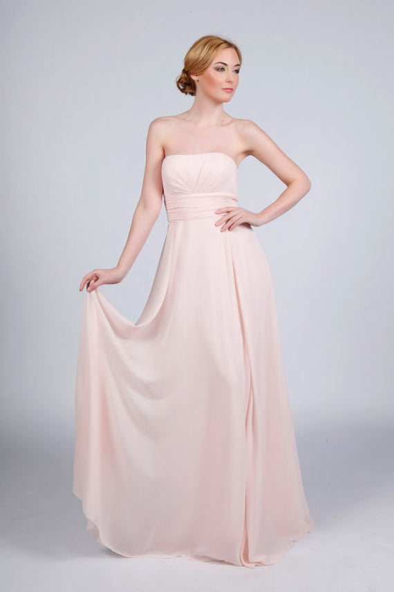 Strapless Chiffon Long Bridesmaid Dress with Ruffle