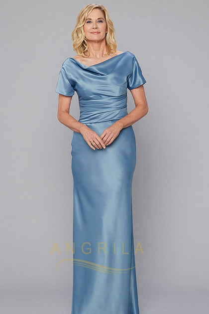 Sheath/Column Cowl Neck Floor Length Mother of the Bride Dress with Short Sleeves