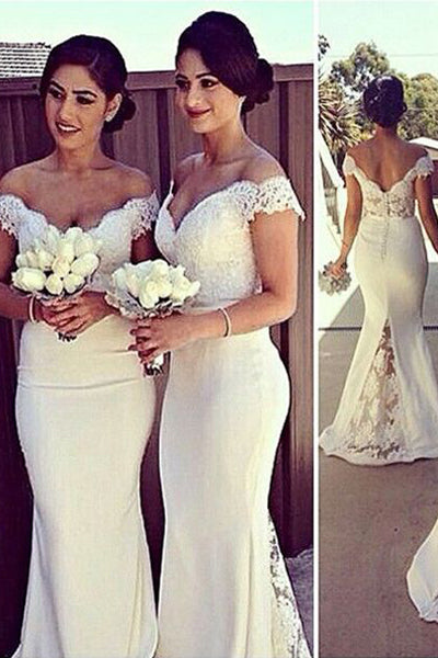 Trumpet/Mermaid Off-the-shoulder Lace Appliqued Long Bridesmaid Dresses