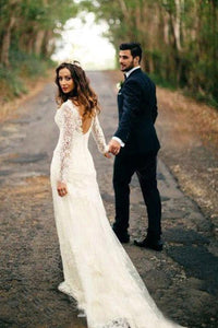 Sexy A-line/Princess V-Neck Lace Wedding Dresses