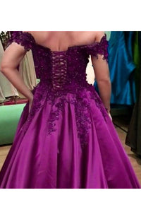 Ball Gown Off-the-Shoulder With Applique Satin Floor-Length Prom Dresses