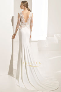 Trumpet/Mermaid V-neck Sweep Train Lace Wedding Dress with Split Front