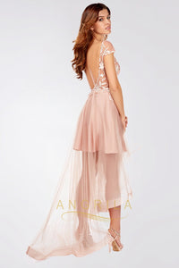 Asymmetrical V-neck High Low Prom Dress with Appliques Lace