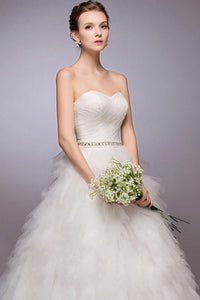 Ball-Gown Sweetheart Court Train Wedding Dress with Ruffle