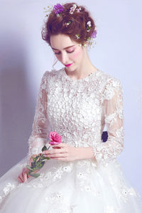 Ball-Gown/Princess V-neck Floor Length Tulle Wedding Dress With Long Sleeve