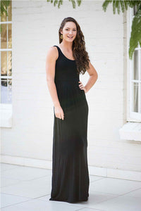 Sheath/Column Scoop Neck Black Maxi Dress