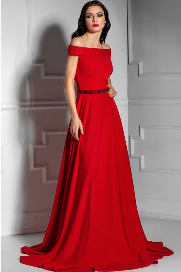 A-Line/Princess Off-the-Shoulder Sweep Train Long Prom Dress with Sash