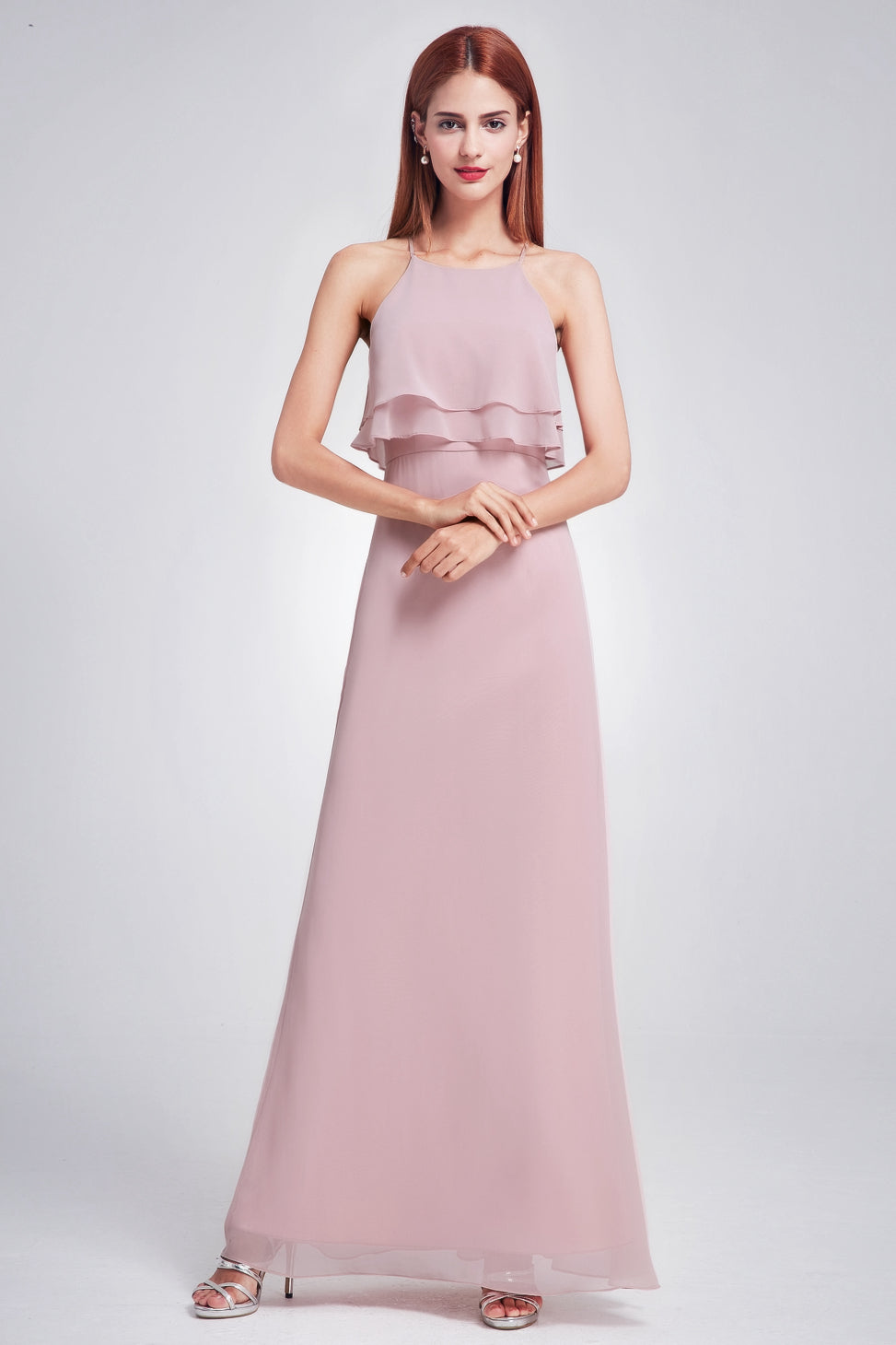 Sheath/Column Halter Chiffon Long Bridesmaid Dress