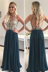 Sexy A-line Halter Sleeveless Beading Long Chiffon Formal Dresses