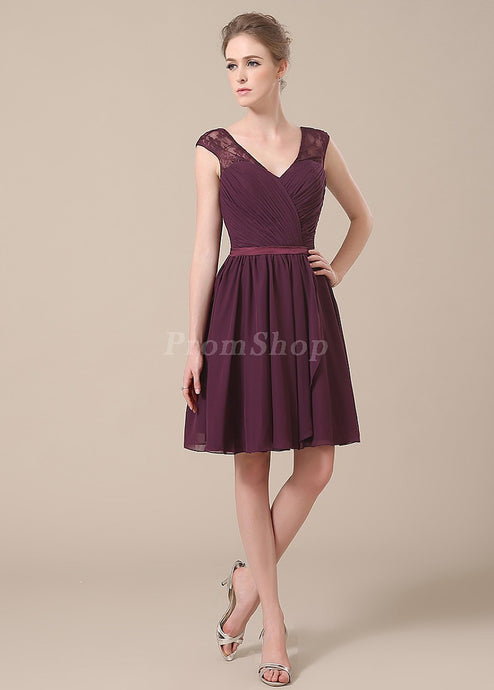 V-neck Short/Mini Chiffon Lace Shoulder Bridesmaid Dress With Ruffle Design