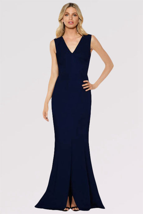Sheath/Column V-neck Sweep Train Formal Evening Dress