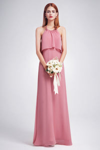 Sheath/Column Halter Chiffon Backless Prom Dress