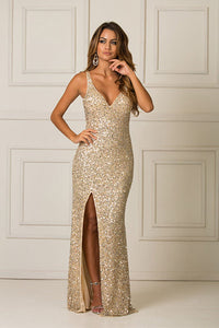 Sequined Sheath/Column V-neck Long Prom Dress with Sequins Split Front