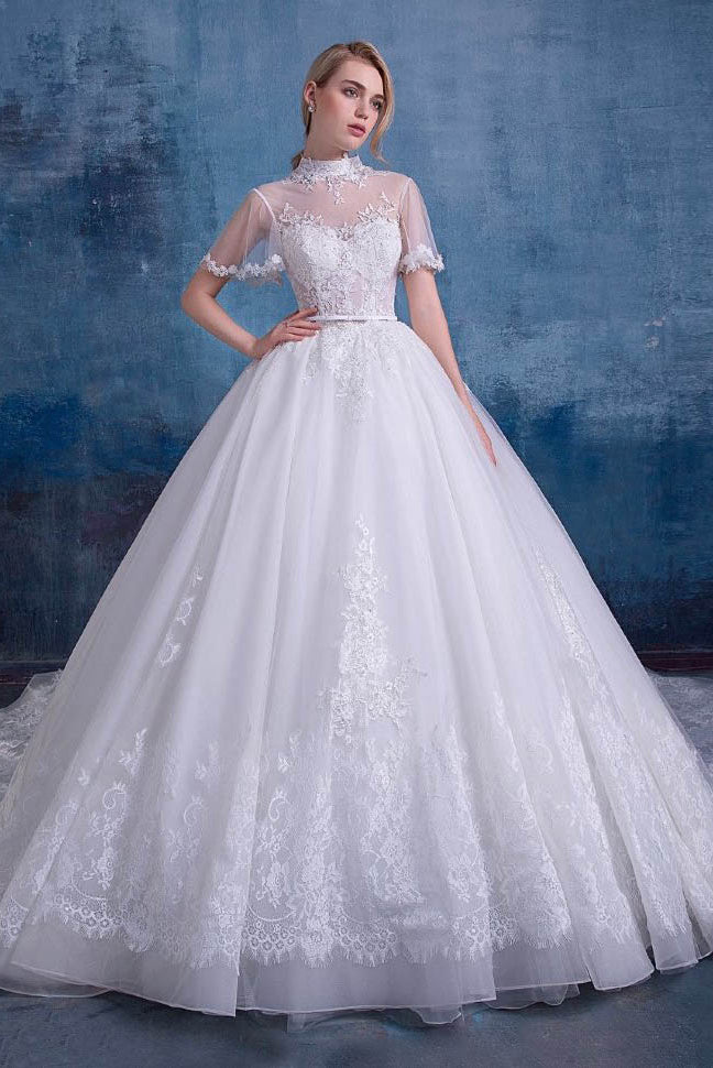 Ball-Gown High Neck Royal Train Lace Wedding Dress with Lace ...