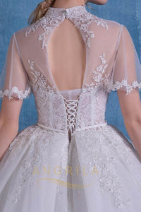 Ball-Gown High Neck Cathedral  Train Lace Wedding Dress with  Lace Appliques