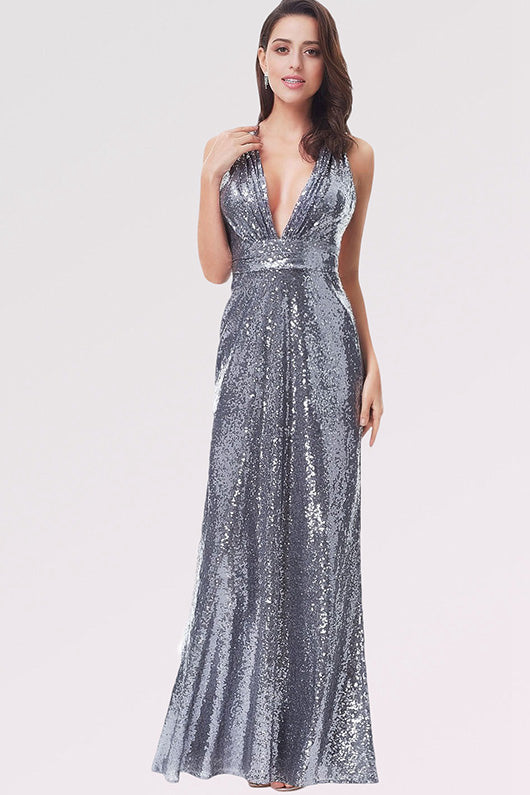 Sequined Sheath/Column V-neck Long Prom Dress with Sequins
