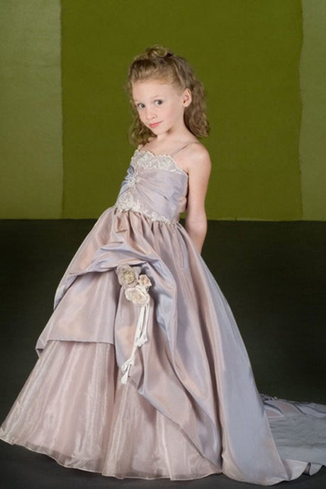 Ball-Gown Spaghetti Straps Court Train Flower Girl Dresses with Flower(s)