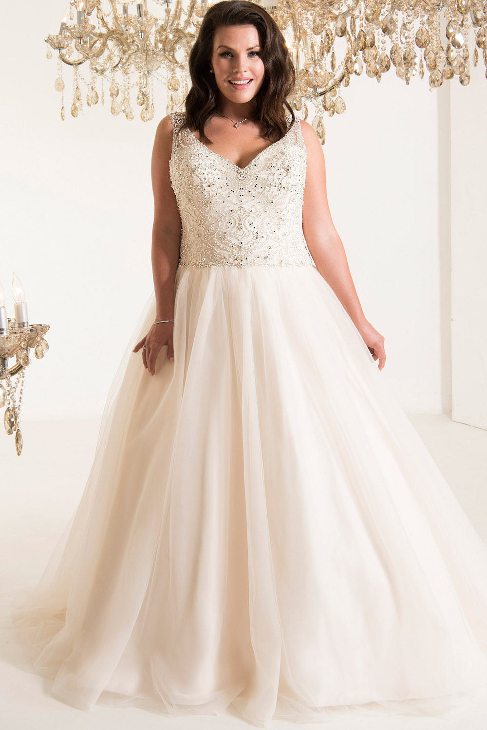 Plus Size V-Neck Tulle Wedding Dresses