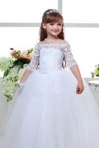 Ball-Gown Off-the-Shoulder Ivory Flower Girl Dress with 1/2 Sleeves