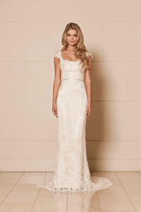 Sheath/Column Square Neckline Sweep Train Lace Wedding Dress