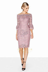 Sheath/Column Off-the-Shoulder Short Mother of the Bride Dress with Lace Appliques