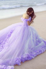 Ball Gown Off-the-shoulder Flowers Lace-up Court Train Prom Dresses
