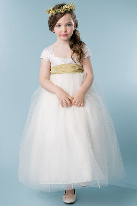 Ball-Gown Square Neckline Ivory Flower Girl Dress with Bow(s)
