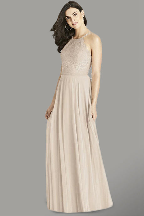 Halter Chiffon Lace Bridesmaid Dress
